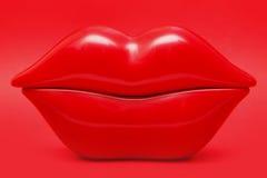 Labbra rosso ciliegie Fotografia Stock Libera da Diritti