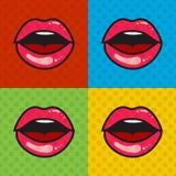 Labbra sexy rosse aperte con la lingua ed i denti Immagine Stock Libera da Diritti