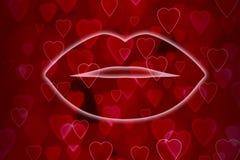 Labbra sul fondo rosso del cuore Fotografia Stock Libera da Diritti