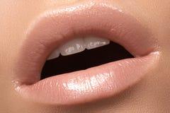 Labbro di modo del primo piano con trucco tenero di lucentezza Orli naturali fotografie stock