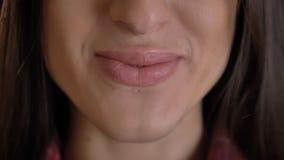 Labbro-ritratto del primo piano di giovane ragazza dai capelli lunghi sveglia in camicia plaided che sorride nella macchina fotog immagini stock libere da diritti