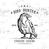 Labe d'annata del corvo o del corvo del disegno della mano Fotografia Stock Libera da Diritti