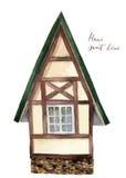 Label à la maison doux Maison d'aquarelle dans le style alpin d'isolement sur le fond blanc Élément peint à la main Pour la conce Images libres de droits