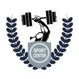 Label à la mode créatif de Barbell de Logo With Male Hand Holding de centre de sport sur le fond blanc illustration de vecteur