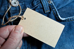 Label. On dark blue jeans Royalty Free Stock Photos