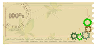 Label. Green label with the words: natural product Royalty Free Stock Images