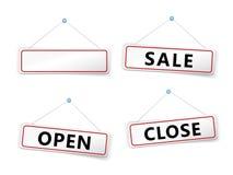 Label. White label sale open close Stock Images