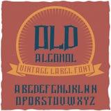 Label Alcohol appelé par oeil d'un caractère de vintage Photographie stock libre de droits