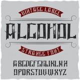Label Alcohol appelé par oeil d'un caractère de vintage Images libres de droits