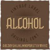 Label Alcohol appelé par oeil d'un caractère de vintage Photo libre de droits