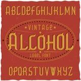 Label Alcohol appelé par oeil d'un caractère de vintage Photos libres de droits