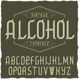 Label Alcohol appelé par oeil d'un caractère de vintage Photo stock
