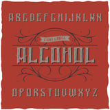 Label Alcohol appelé par oeil d'un caractère de vintage Image stock