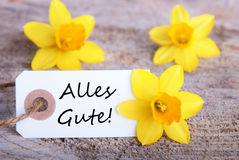 Label with Alles Gute. Label with the German Words Alles Gute which means Congratulations stock photos