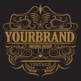 Label antique, conception de cadre de vintage, rétro logo Images stock