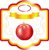 Label for apple, sweet fruit on packing, a label for wine, an emblem for cookery apple, a decorative element, packing for fruit Stock Images