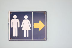 Label the arrow pointing to the bathroom. Royalty Free Stock Images