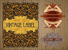 Label Art Nouveau. Vector vintage items: label art nouveau Stock Photos