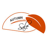 Label of Autumn sale.  Natural symbol with leaf for autumn offer. Nature icon. Stock Images