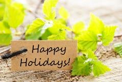 Label avec bonnes fêtes Images stock