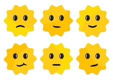 Label avec des ?motions de visage, autocollants ronds jaunes Illustration de vecteur illustration libre de droits