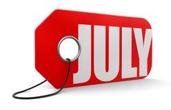 Label avec juillet Images libres de droits