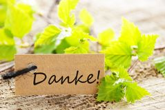 Label avec le danke ! Photo stock