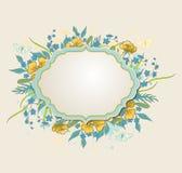 Label avec les fleurs et les papillons jaunes Photos libres de droits