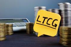 Label avec les plus-value à long terme LTCG photographie stock libre de droits