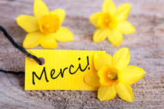 Label avec Merci Photographie stock