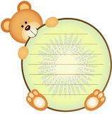 Label avec Teddy Bear Eating Kiwi Images stock