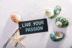 Label avec vivant votre passion image stock