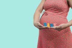 Label Baby in the hands of a pregnant woman Royalty Free Stock Photos