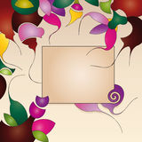 label on background with abstract flowers Royalty Free Stock Photo