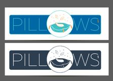 Cleaning pillows 2 linear style. Label, banner for manufacturing, cleaning pillows. Icon in the linear style Royalty Free Stock Images