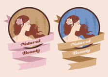 Label with beautiful girl Royalty Free Stock Photo