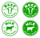 Label beef and milk Royalty Free Stock Image
