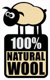 Label beer. Label with small sheep and the words 100% Natural Wool Royalty Free Stock Photography