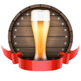 Label Beer barrel keg with beer glass and ribbon Stock Image