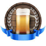 Label Beer barrel keg with beer glass and ribbon Royalty Free Stock Images