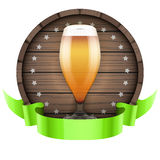 Label Beer barrel keg with beer glass and ribbon Royalty Free Stock Image