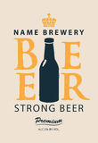 Label beer with a bottle Stock Photos