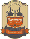 Label beer with brewery. Label beer with the old town and the brewery Royalty Free Stock Photography