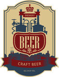 Label beer with brewery. Label beer with the old town and the brewery Stock Images