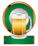 Label with beer glass Stock Photos