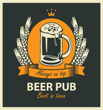Label for beer pub with beer glass and wreath Stock Photos