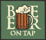 Label for beer on tap with full beer glass Royalty Free Stock Photo