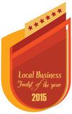 Label of best finalist of the year award. Vector promo label of best finalist of the year award for local business 2015. Label to promote award or achievement Stock Photo