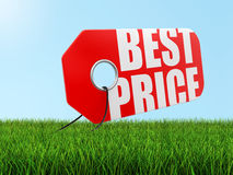 Label with Best Price on grass (clipping path included) Royalty Free Stock Image