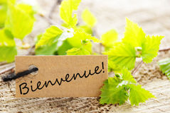 Label with bienvenue Stock Photos